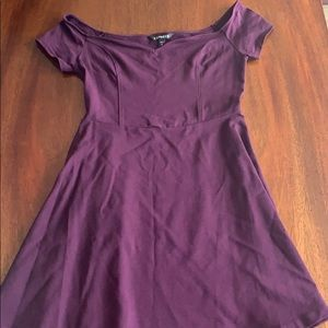 Express Plum colored off the shoulder dress